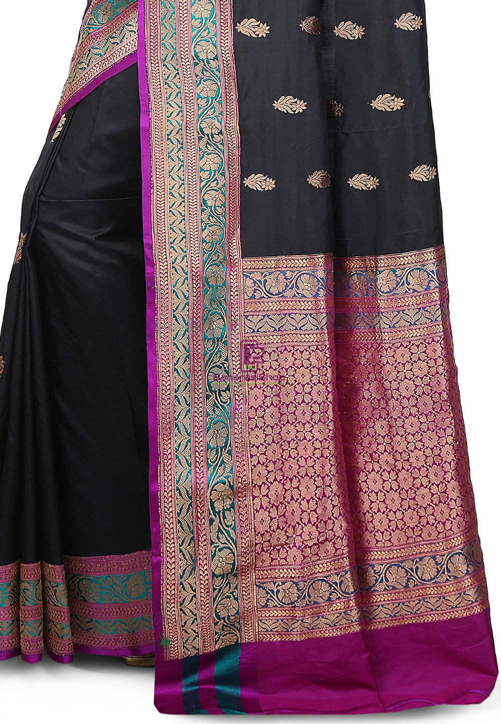 Banarasi Pure Katan Silk Handloom Saree in Black 3