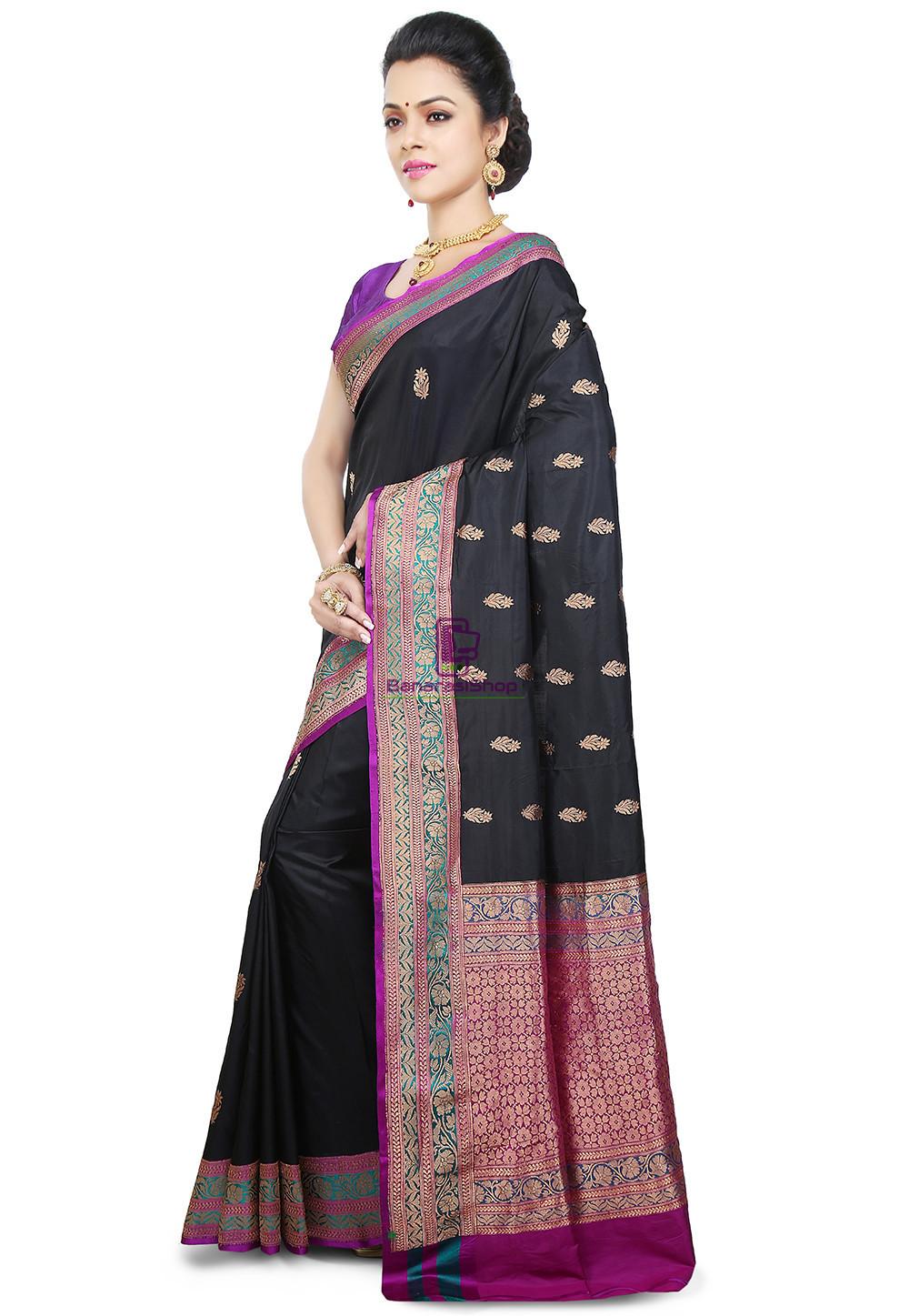 Banarasi Pure Katan Silk Handloom Saree in Black 5