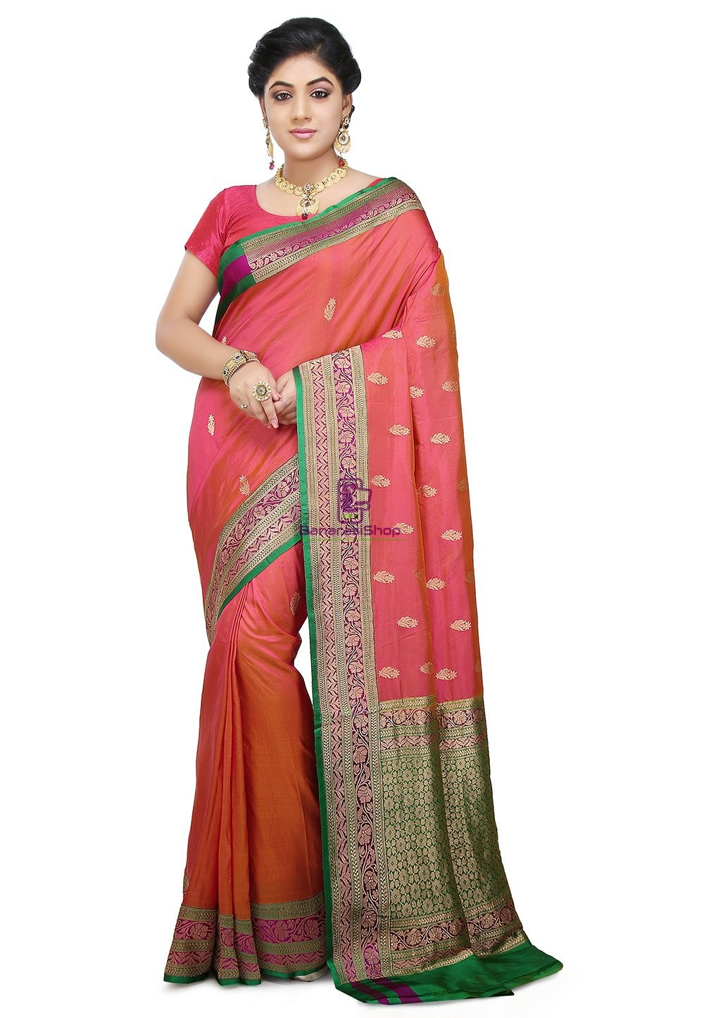 Banarasi Pure Katan Silk Handloom Saree in Coral Pink 1