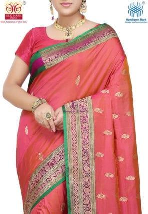 Banarasi Pure Katan Silk Handloom Saree in Coral Pink 5