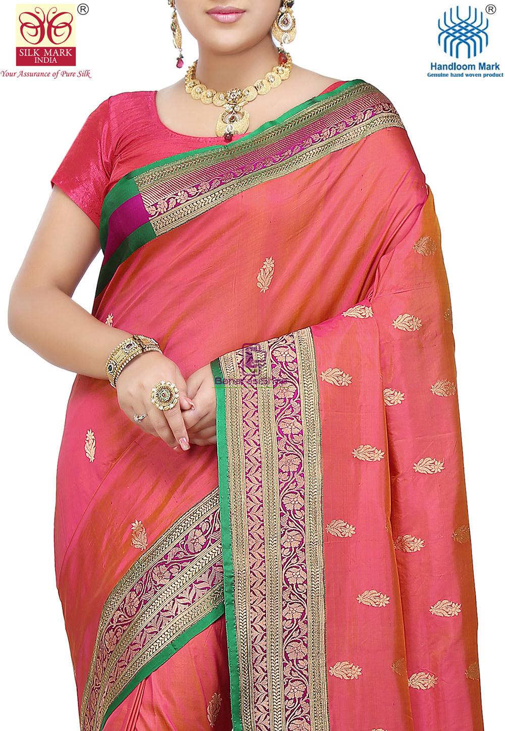 Banarasi Pure Katan Silk Handloom Saree in Coral Pink 2