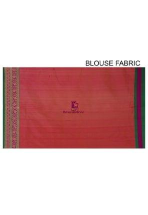 Banarasi Pure Katan Silk Handloom Saree in Coral Pink 6