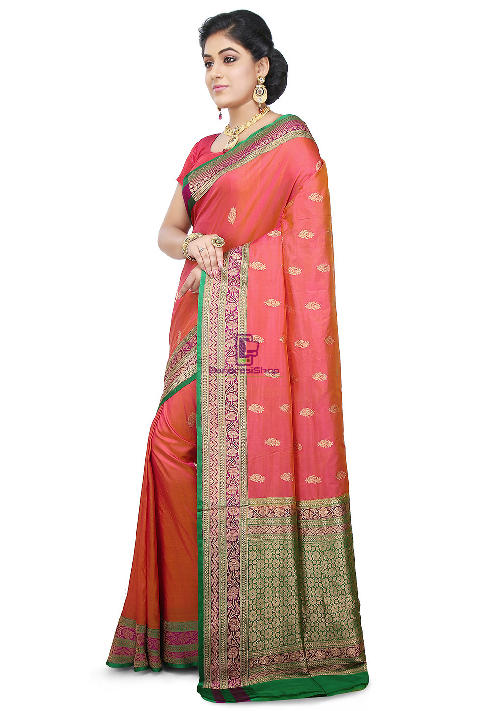 Banarasi Pure Katan Silk Handloom Saree in Coral Pink 4