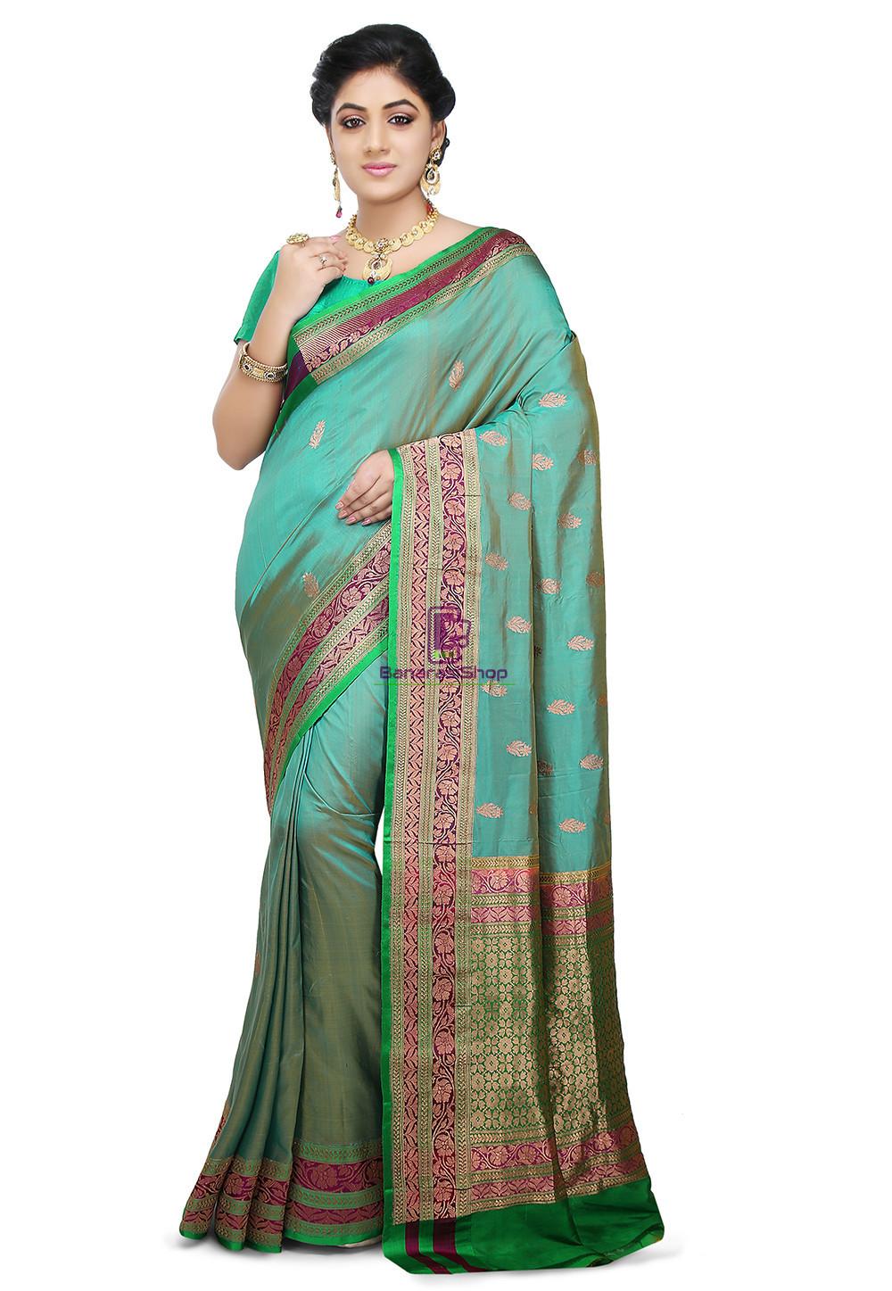 Banarasi Pure Katan Silk Handloom Saree in Teal Blue 1