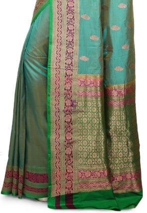Banarasi Pure Katan Silk Handloom Saree in Teal Blue 7