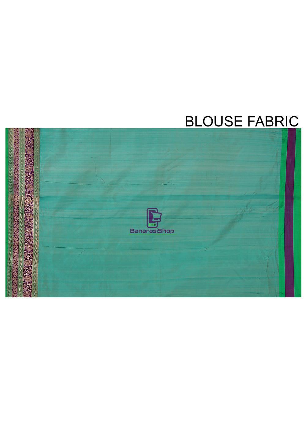 Banarasi Pure Katan Silk Handloom Saree in Teal Blue 4