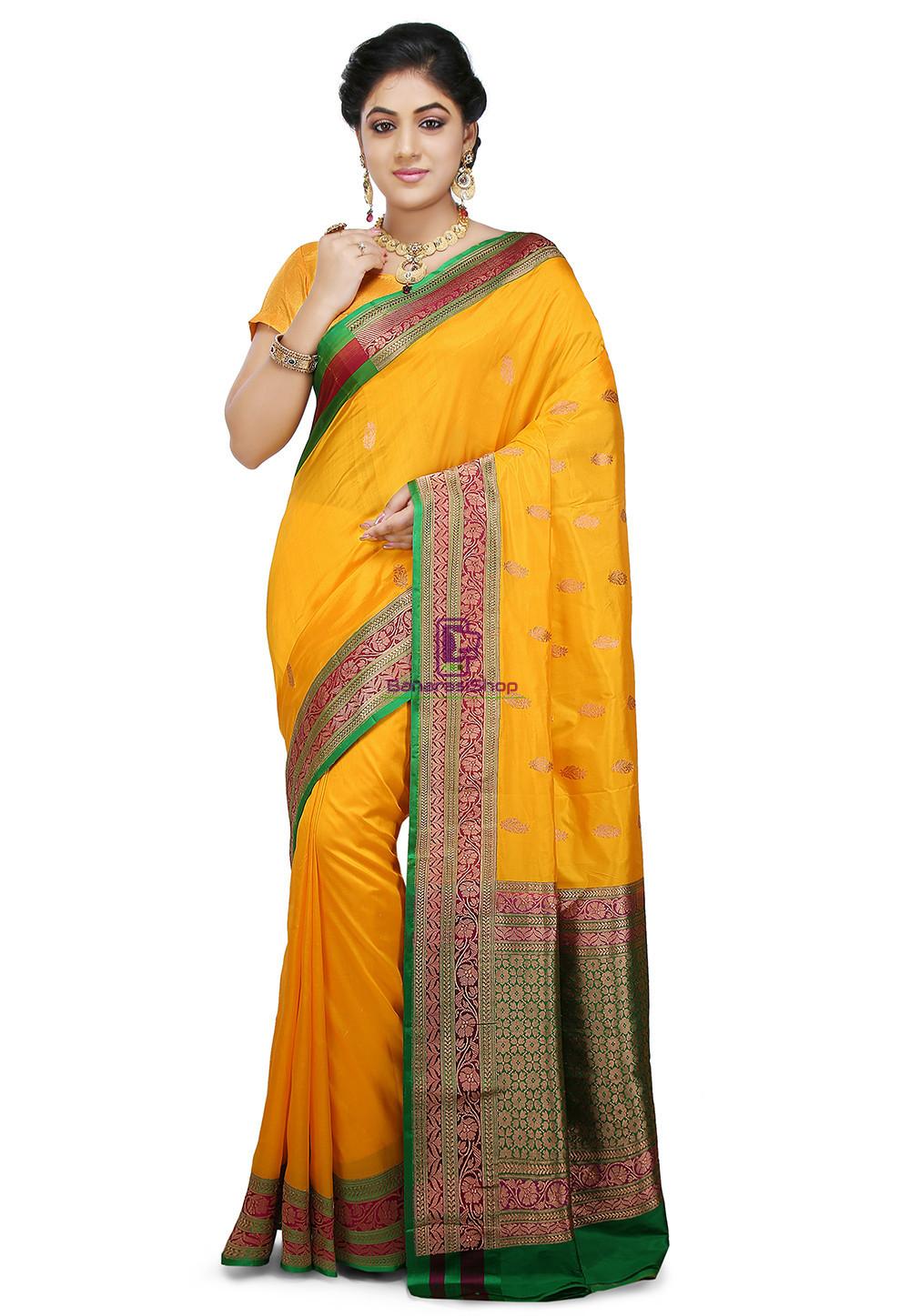 Banarasi Pure Katan Silk Handloom Saree in Yellow 1