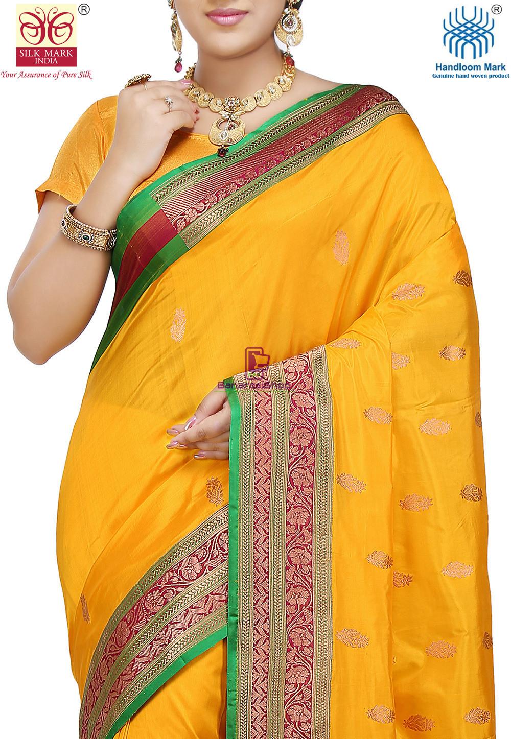 Banarasi Pure Katan Silk Handloom Saree in Yellow 2