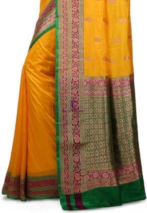 Banarasi Pure Katan Silk Handloom Saree in Yellow 7