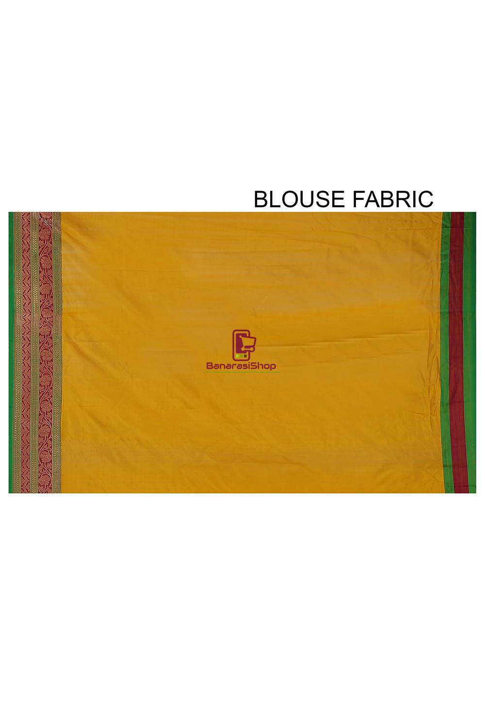 Banarasi Pure Katan Silk Handloom Saree in Yellow 5
