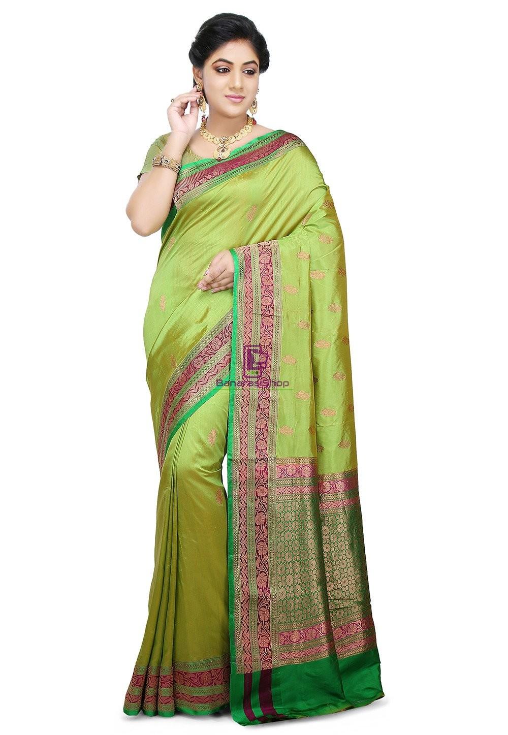 Banarasi Katan Silk Handloom Saree in Light Green 1