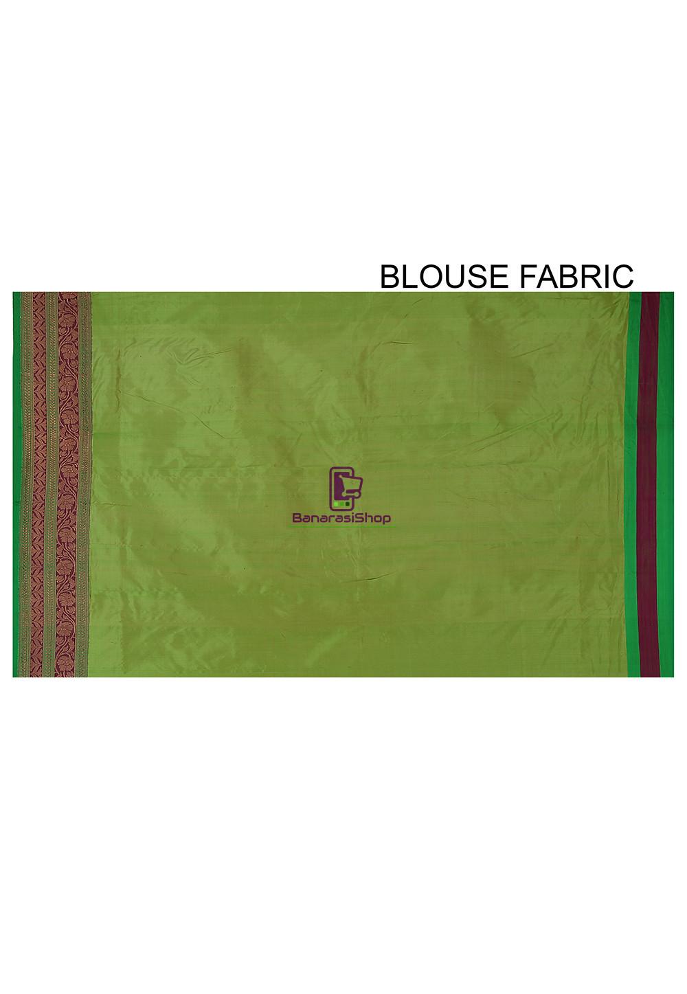 Banarasi Katan Silk Handloom Saree in Light Green 4