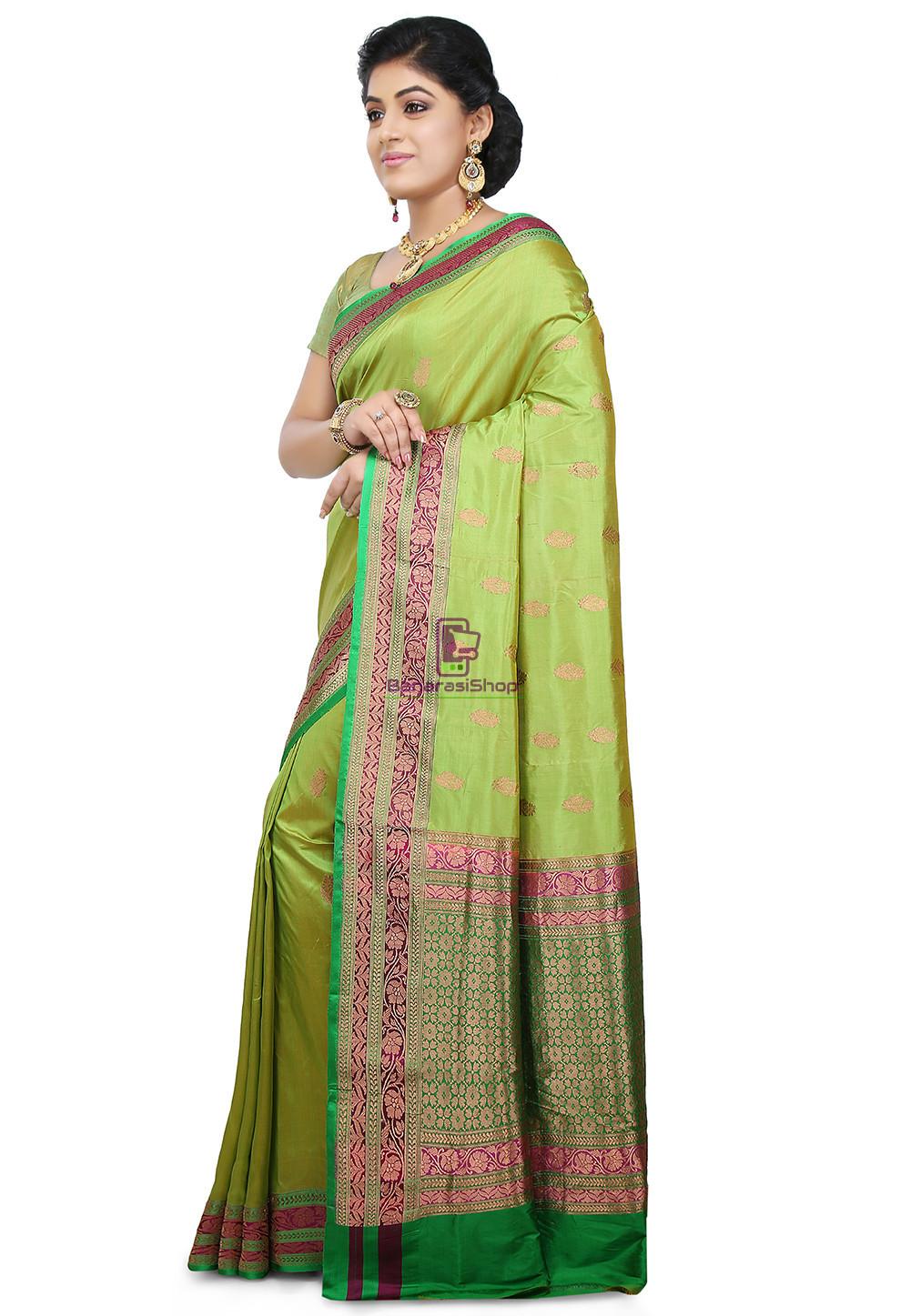 Banarasi Katan Silk Handloom Saree in Light Green 5