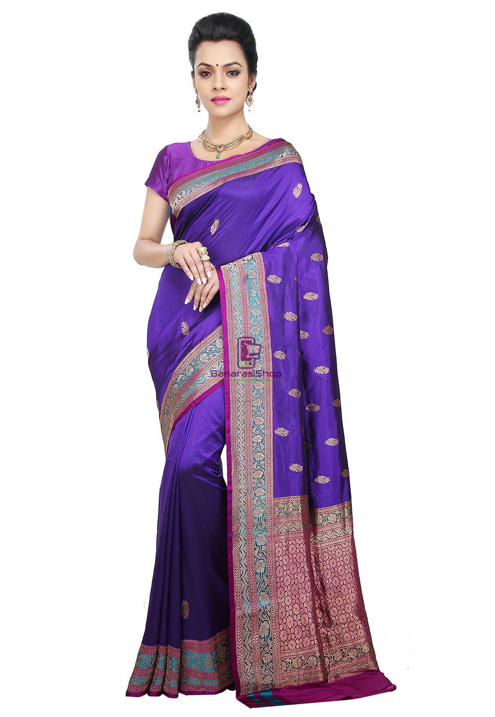 Banarasi Pure Katan Silk Handloom Saree in Indigo 1