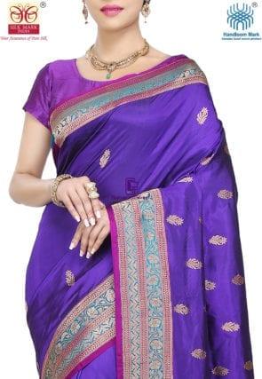 Banarasi Pure Katan Silk Handloom Saree in Indigo 6