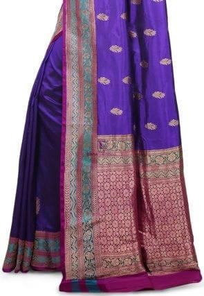 Banarasi Pure Katan Silk Handloom Saree in Indigo 7
