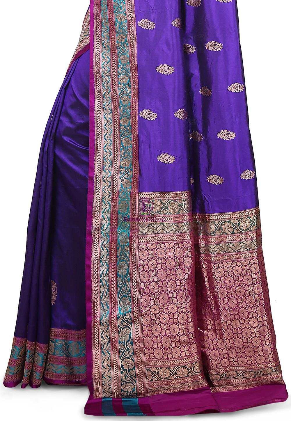 Banarasi Pure Katan Silk Handloom Saree in Indigo 3