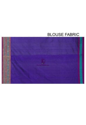 Banarasi Pure Katan Silk Handloom Saree in Indigo 8
