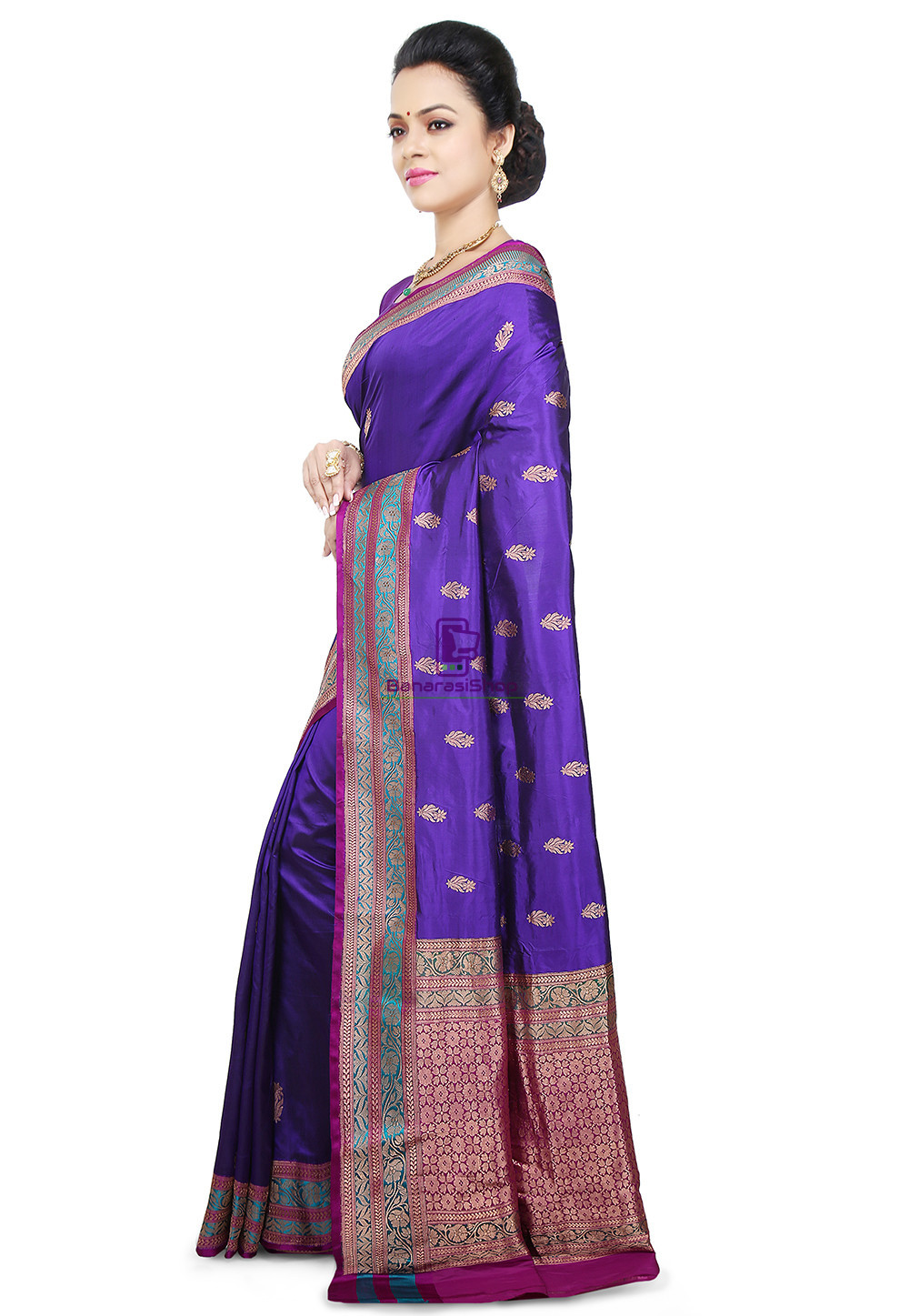 Banarasi Pure Katan Silk Handloom Saree in Indigo 5