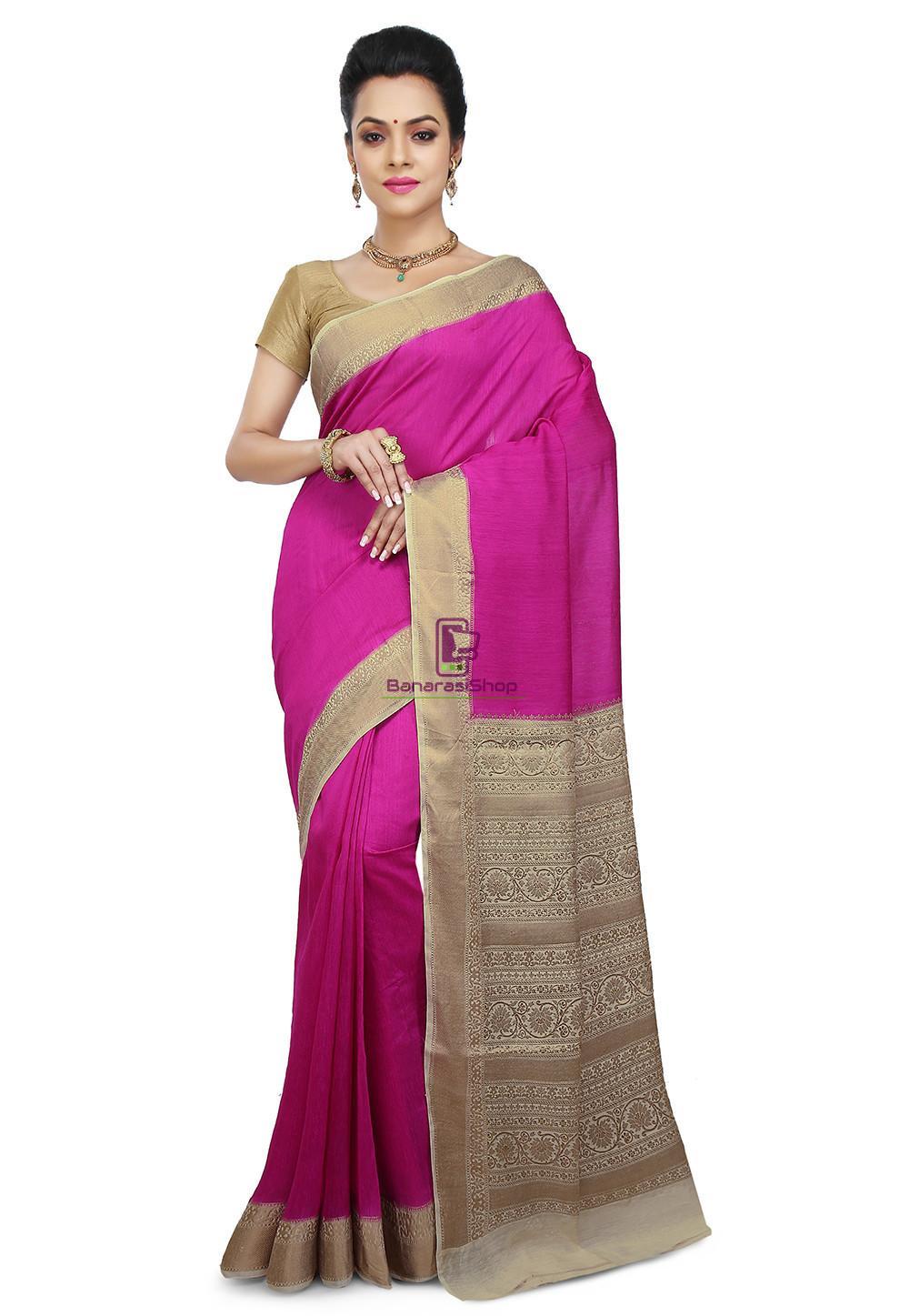 Pure Banarasi Muga Silk Handloom Saree in Fuchsia 1