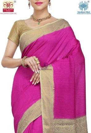 Pure Banarasi Muga Silk Handloom Saree in Fuchsia 6