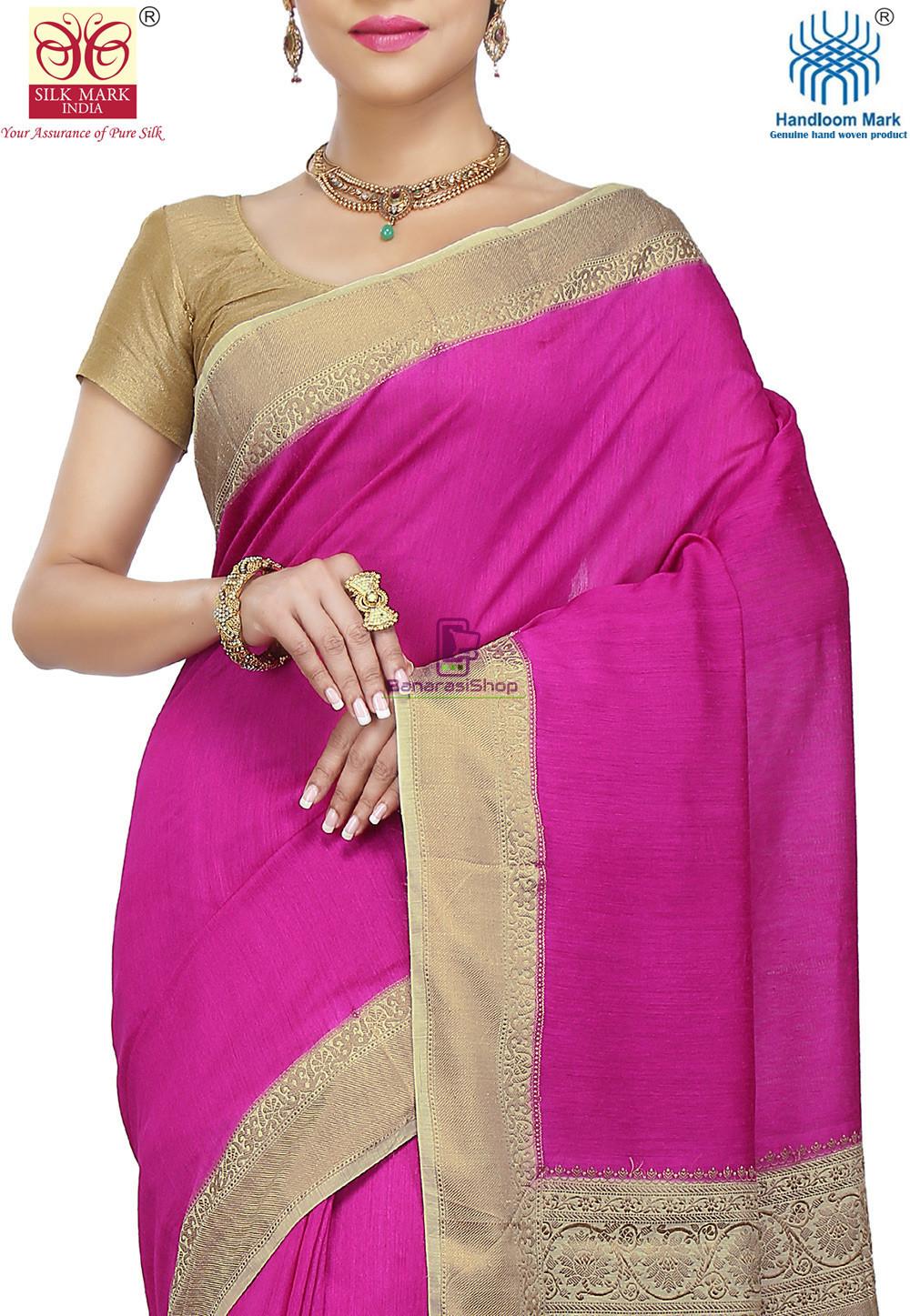 Pure Banarasi Muga Silk Handloom Saree in Fuchsia 2