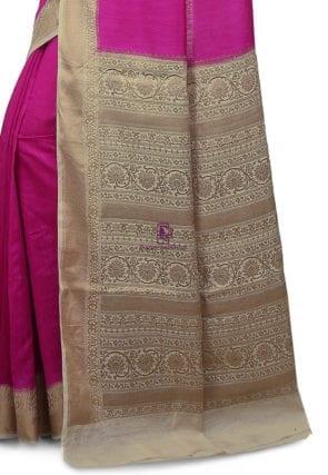 Pure Banarasi Muga Silk Handloom Saree in Fuchsia 7