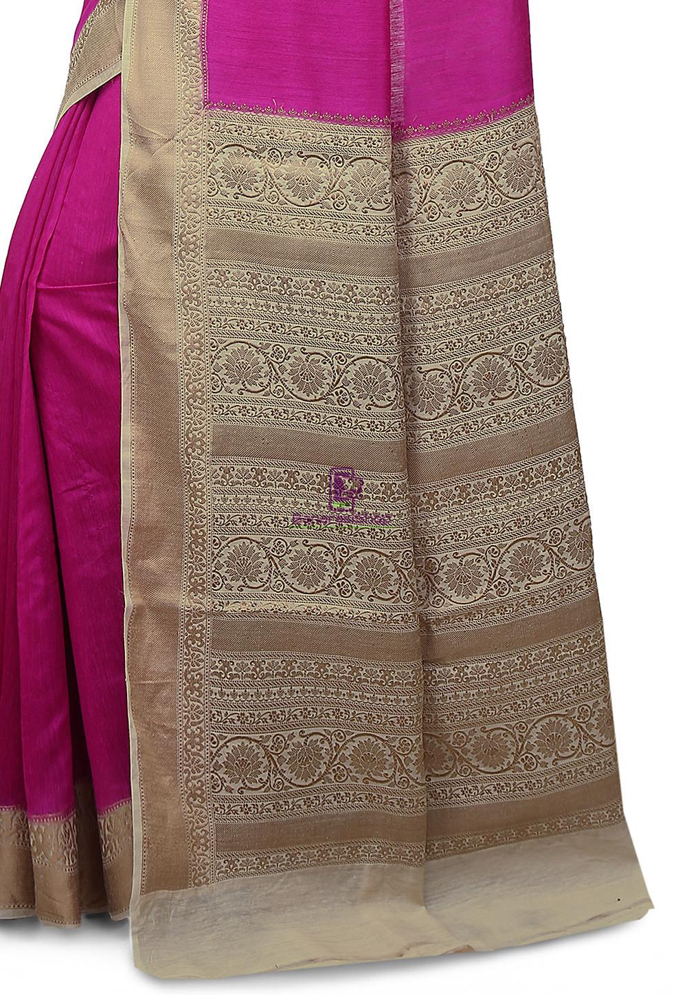 Pure Banarasi Muga Silk Handloom Saree in Fuchsia 3