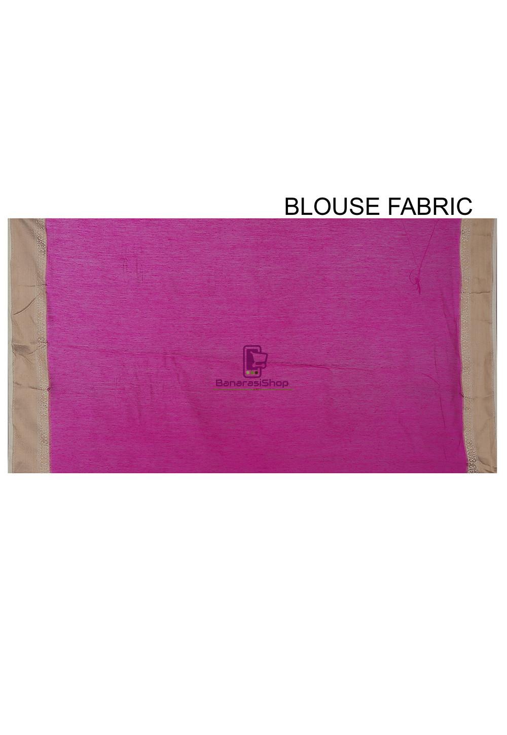 Pure Banarasi Muga Silk Handloom Saree in Fuchsia 4