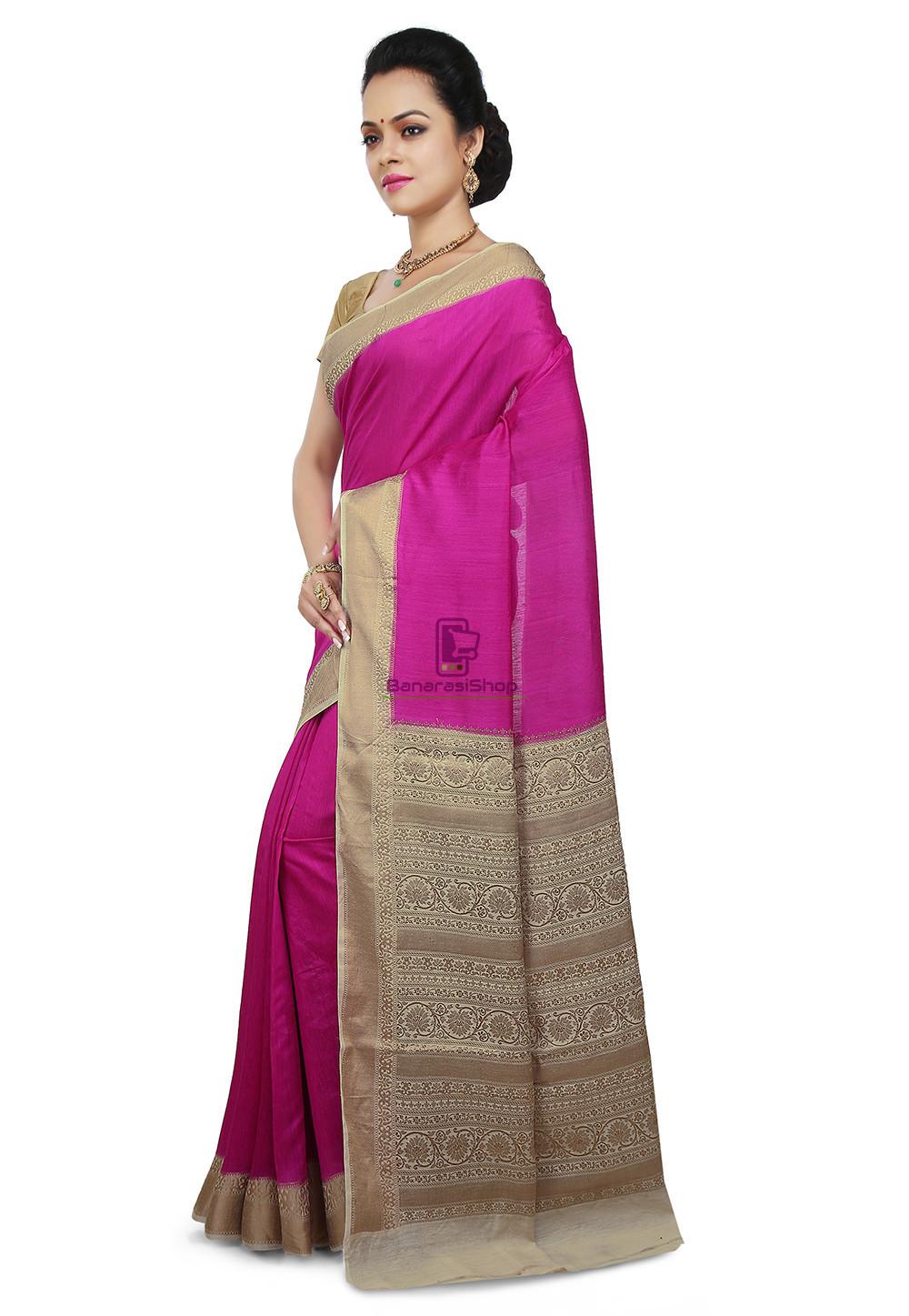 Pure Banarasi Muga Silk Handloom Saree in Fuchsia 5