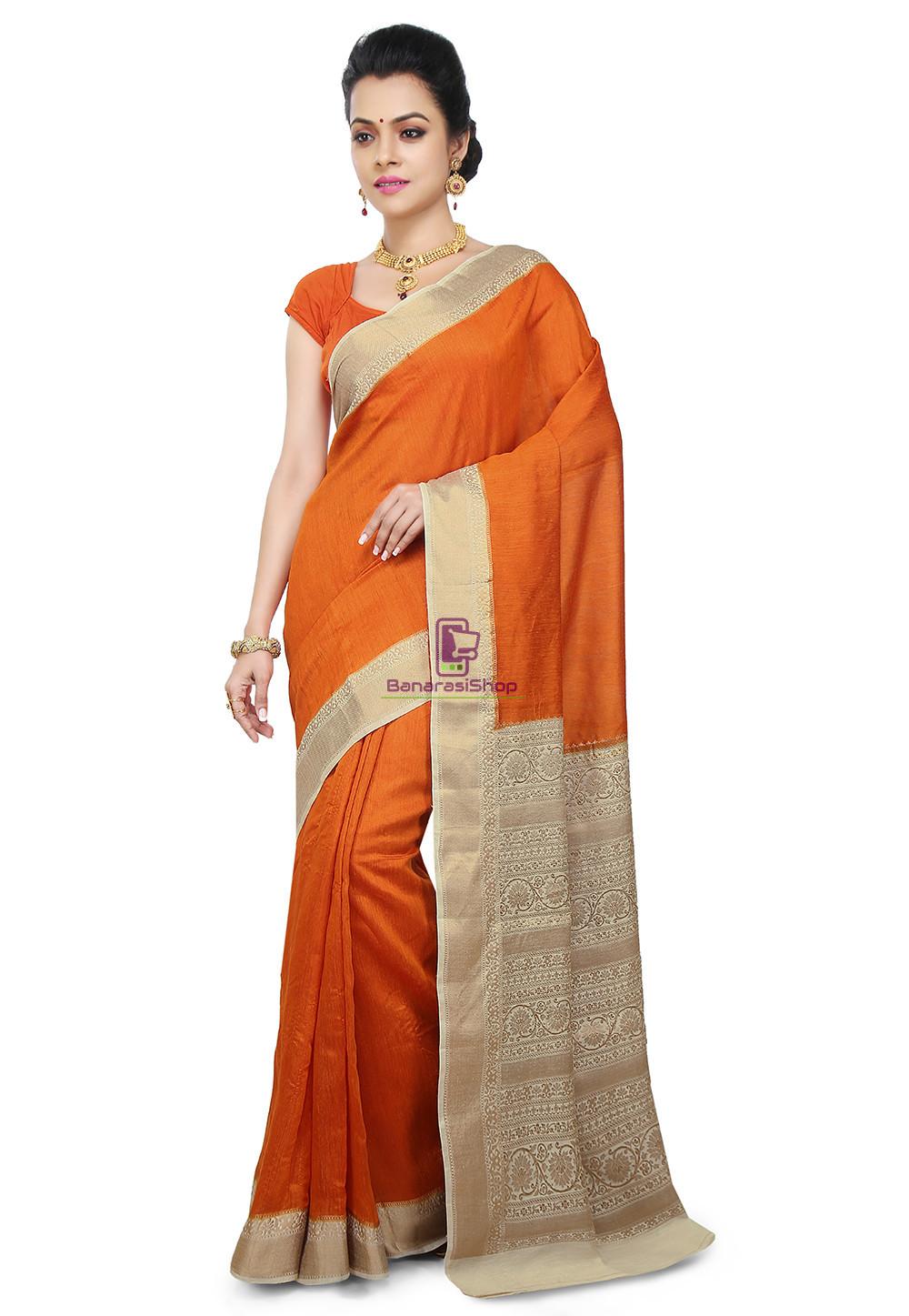 Pure Banarasi Muga Silk Handloom Saree in Dark Orange 1