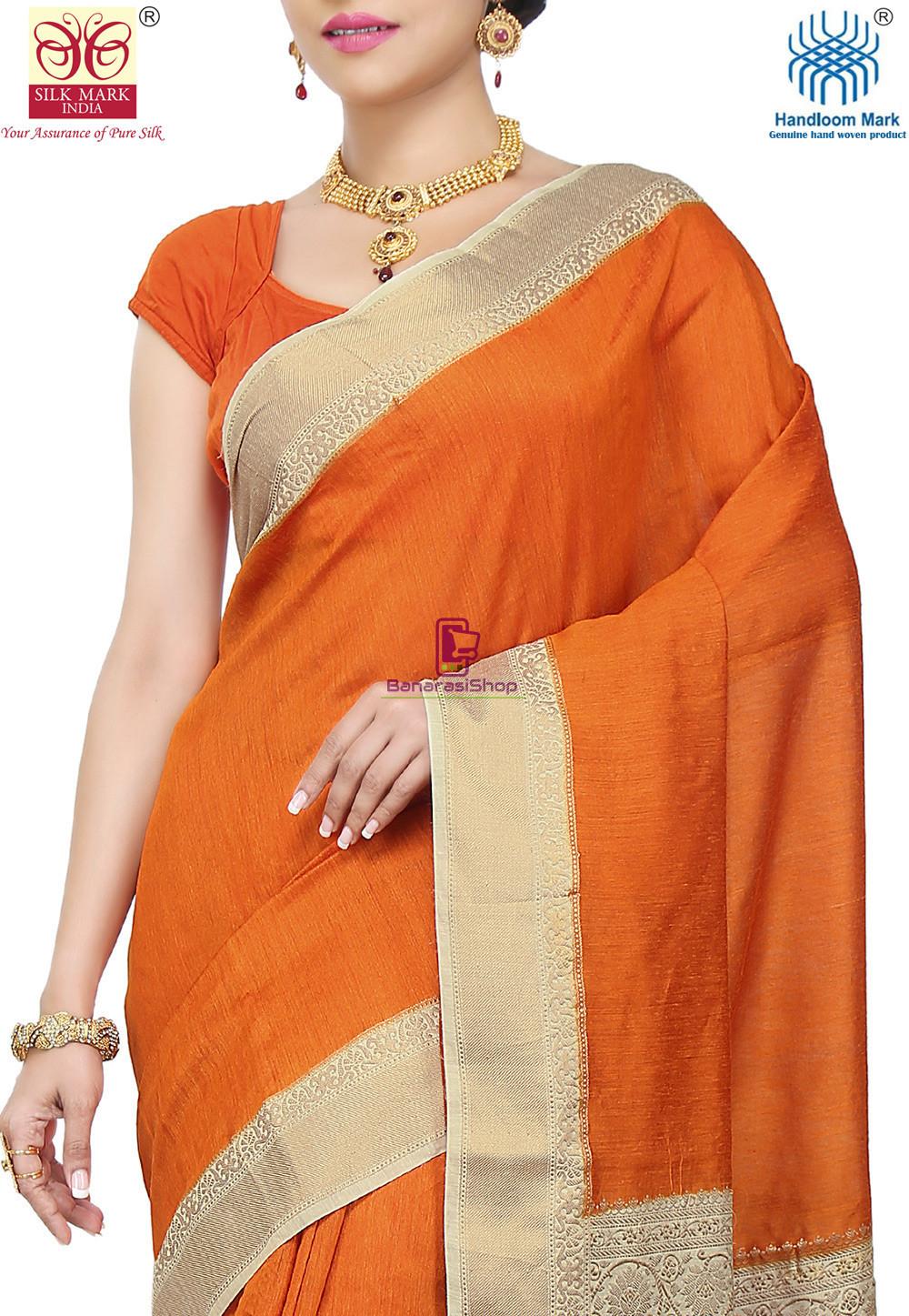 Pure Banarasi Muga Silk Handloom Saree in Dark Orange 2