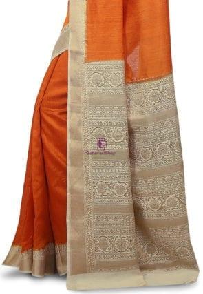 Pure Banarasi Muga Silk Handloom Saree in Dark Orange 7