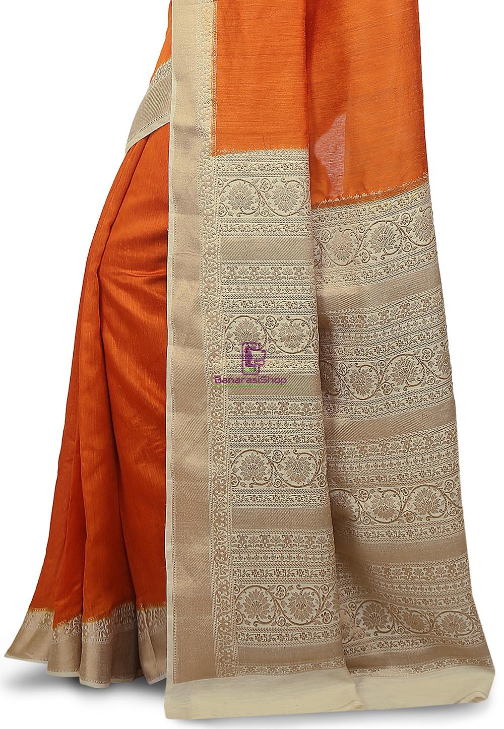 Pure Banarasi Muga Silk Handloom Saree in Dark Orange 3