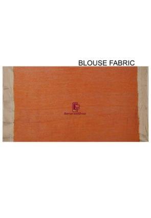Pure Banarasi Muga Silk Handloom Saree in Dark Orange 8