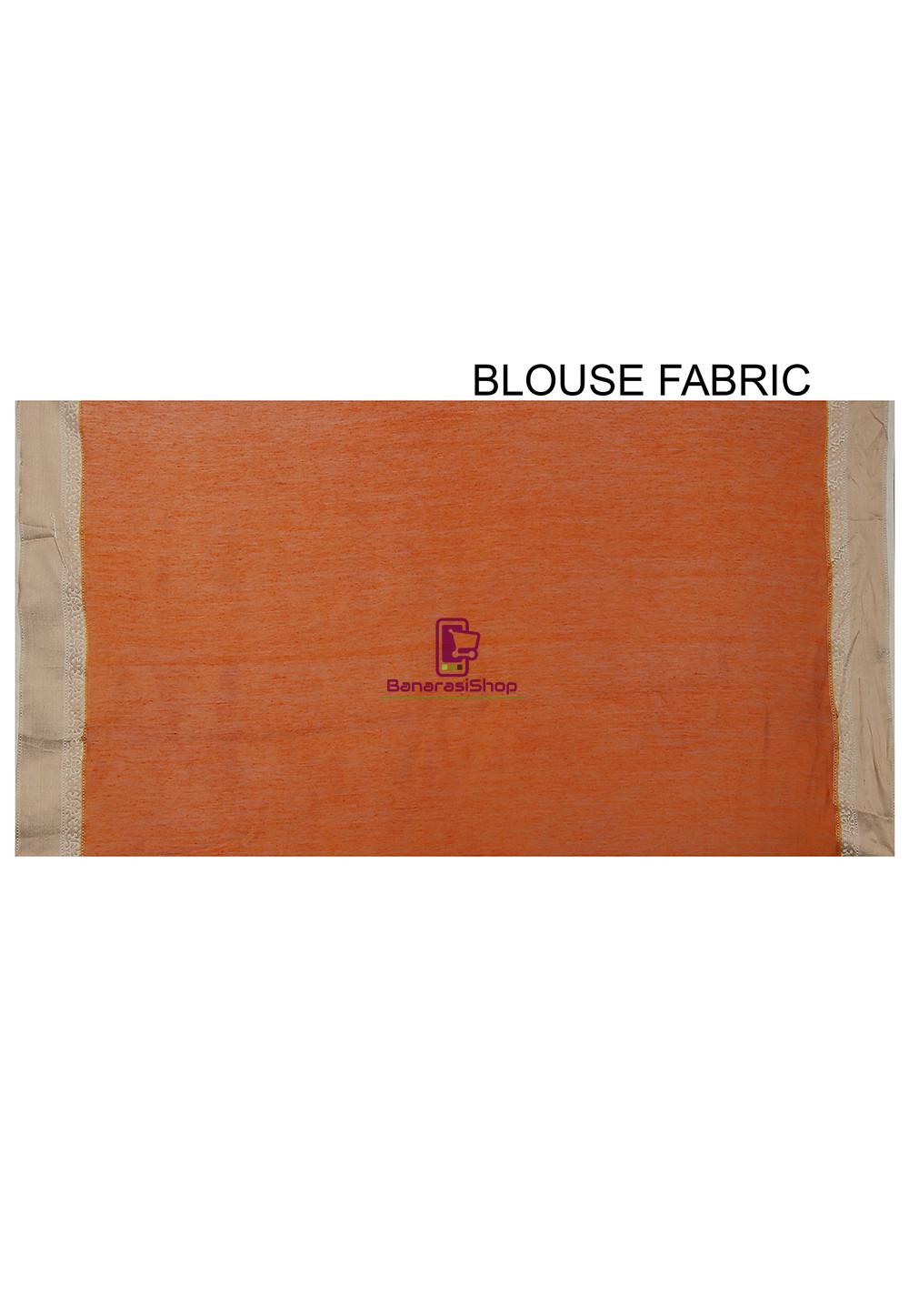 Pure Banarasi Muga Silk Handloom Saree in Dark Orange 4