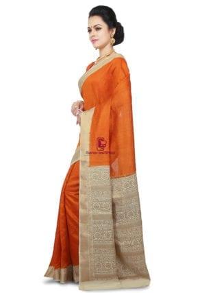 Pure Banarasi Muga Silk Handloom Saree in Dark Orange 9