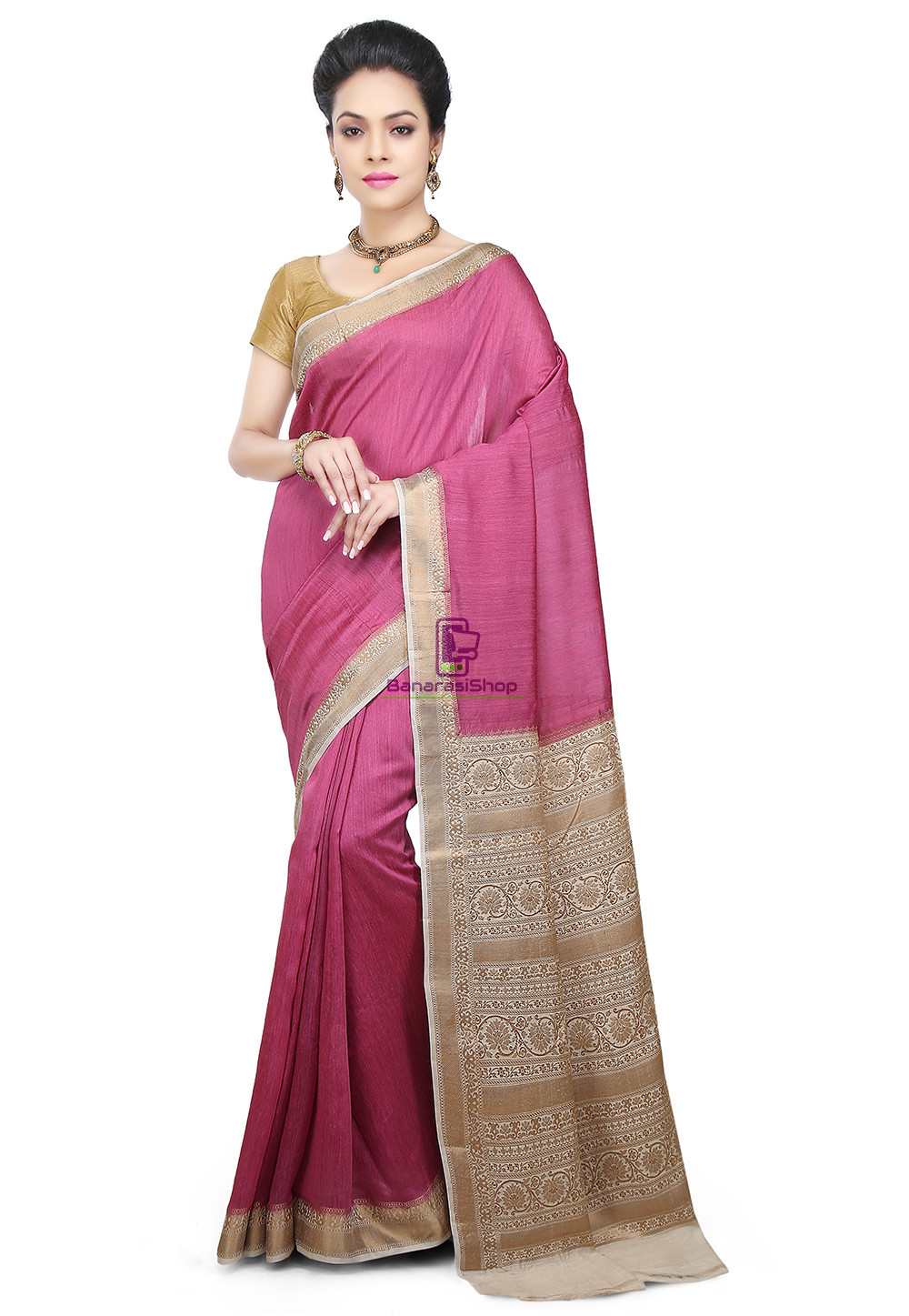 Pure Banarasi Muga Silk Handloom Saree in Pink 1