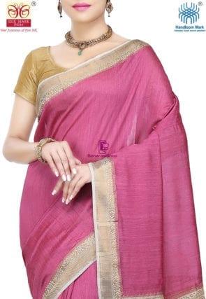Pure Banarasi Muga Silk Handloom Saree in Pink 6