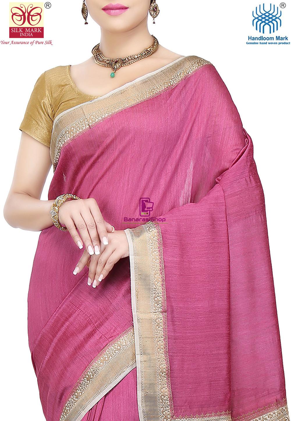 Pure Banarasi Muga Silk Handloom Saree in Pink 2