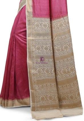 Pure Banarasi Muga Silk Handloom Saree in Pink 7