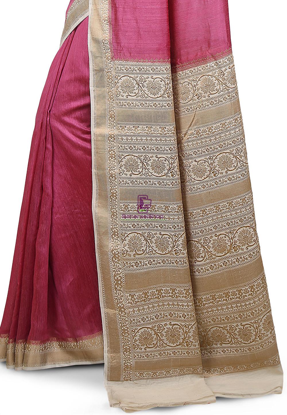 Pure Banarasi Muga Silk Handloom Saree in Pink 3