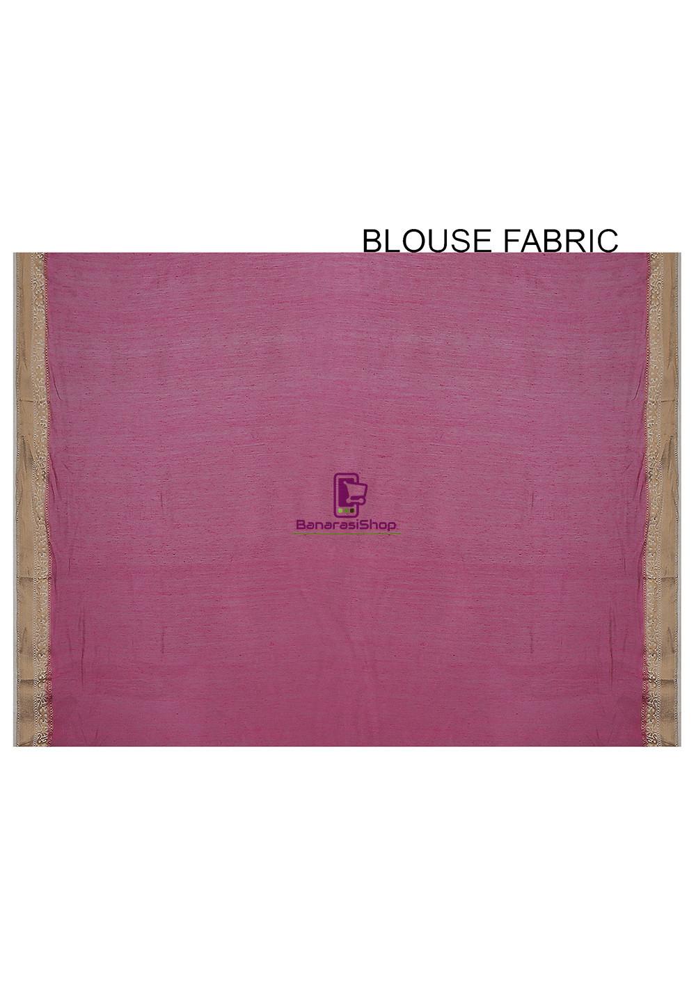 Pure Banarasi Muga Silk Handloom Saree in Pink 4