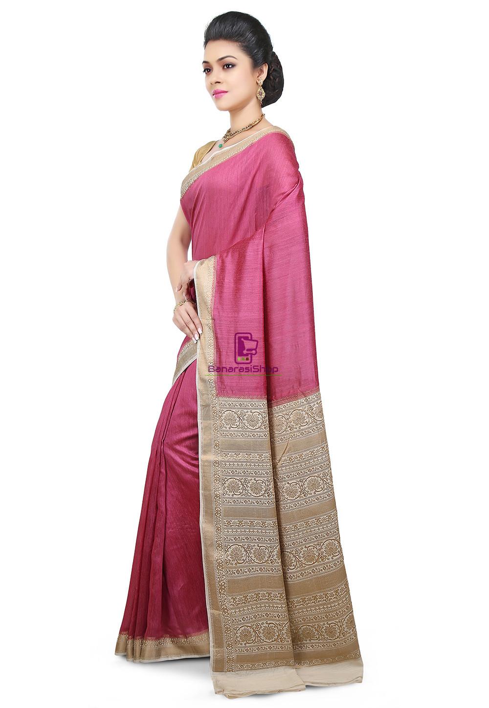 Pure Banarasi Muga Silk Handloom Saree in Pink 5