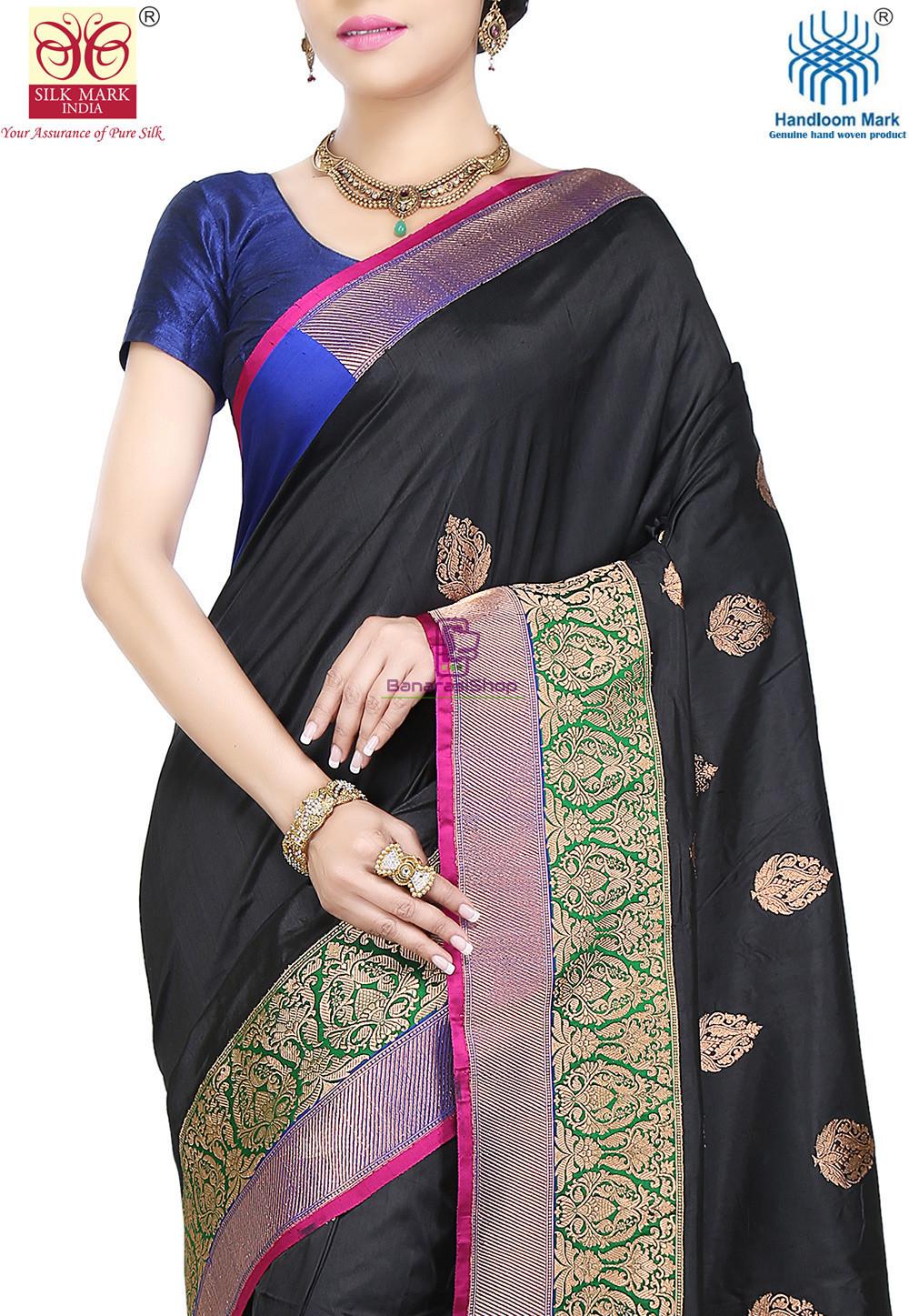 Banarasi Pure Katan Silk Handloom Saree in Black 2