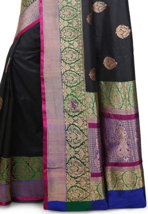 Banarasi Pure Katan Silk Handloom Saree in Black 7