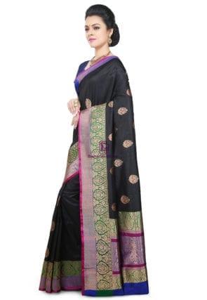 Banarasi Pure Katan Silk Handloom Saree in Black 9