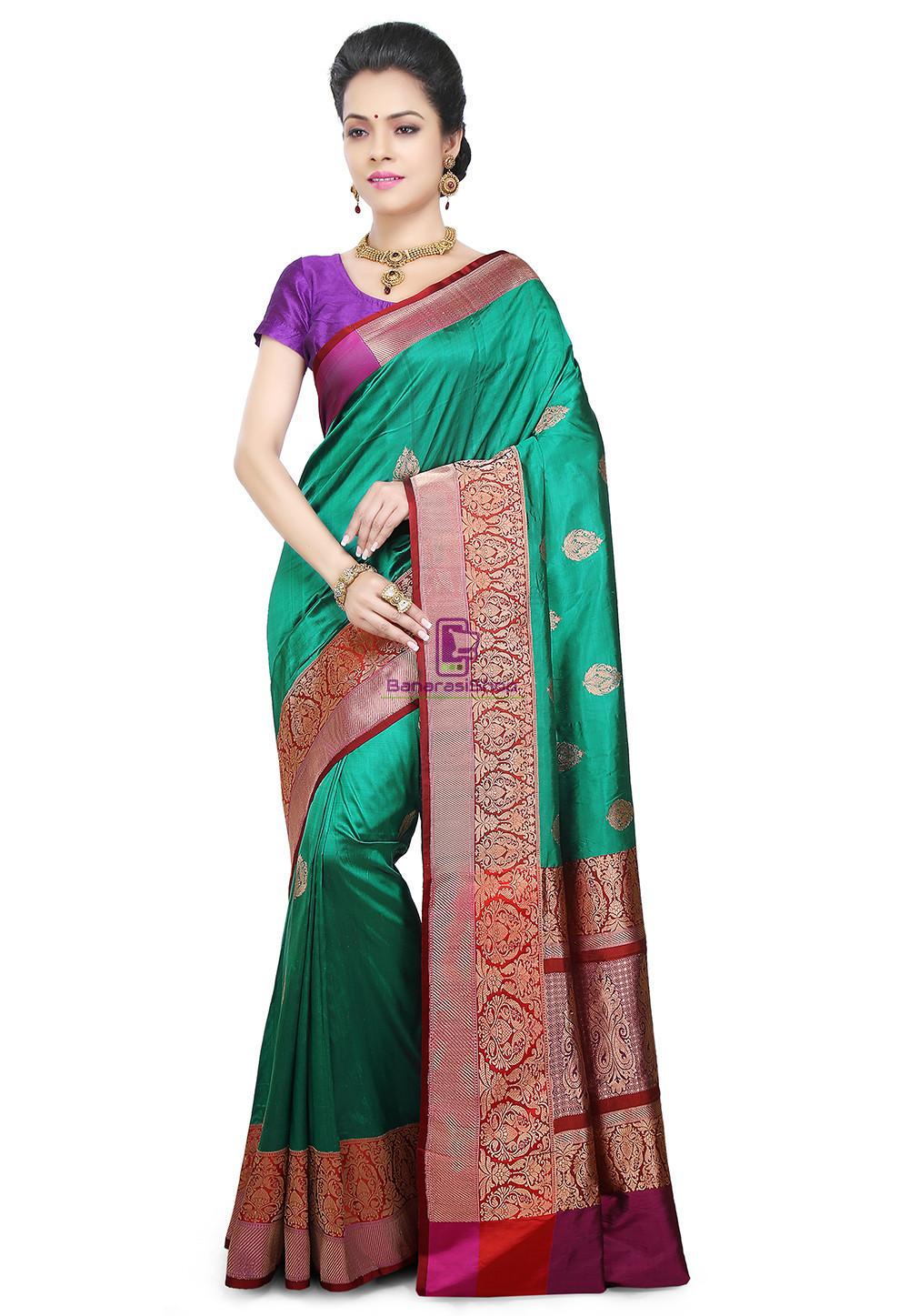 Banarasi Pure Katan Silk Handloom Saree in Teal Green 1