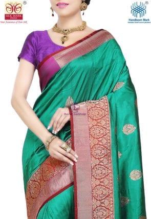 Banarasi Pure Katan Silk Handloom Saree in Teal Green 6