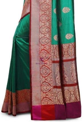 Banarasi Pure Katan Silk Handloom Saree in Teal Green 7
